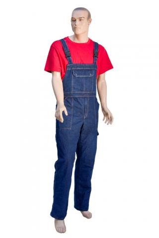 Quilt lined denim overalls