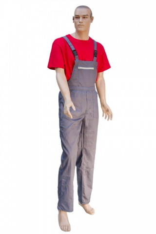 Gray quilt lined denim overalls